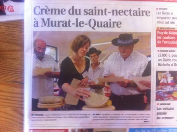 Article presse Concours du Fromage Saint Nectaire, murat le quaire 2015
